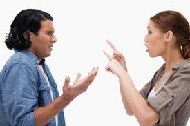 woman shout at man